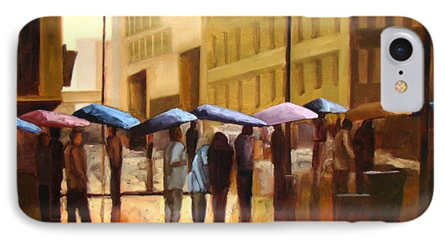 Cityscape IPhone 7 Case featuring the painting Rain In Manhattan Number Seventeen by Tate Hamilton