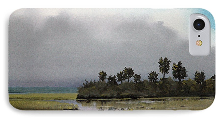 Landscape IPhone 7 Case featuring the painting Rain On The Way by Glenn Secrest