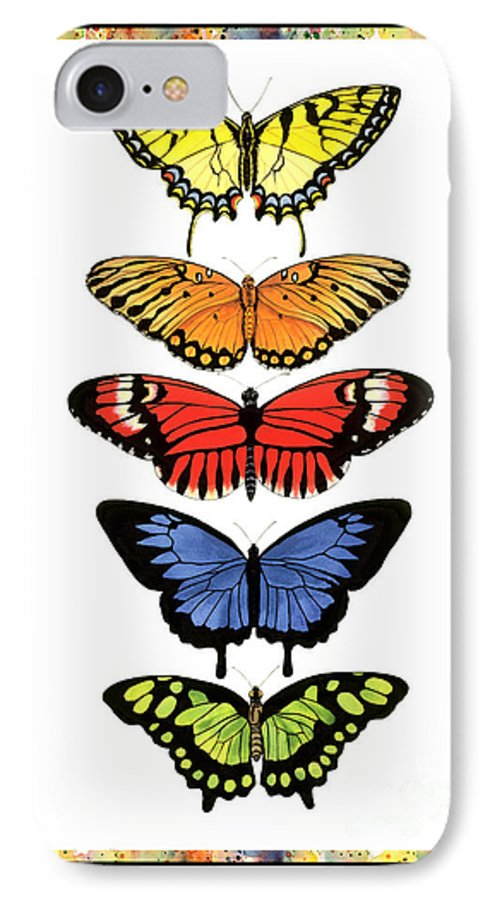 Butterflies IPhone Case featuring the painting Rainbow Butterflies by Lucy Arnold