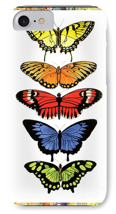 Butterflies IPhone 7 Case featuring the painting Rainbow Butterflies by Lucy Arnold