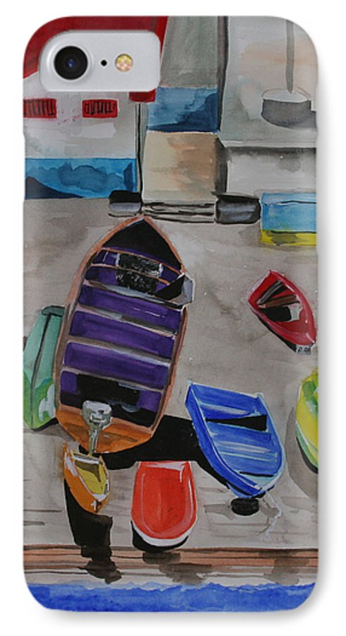Boats IPhone 7 Case featuring the painting Rainbow On The Dock by Jean Blackmer