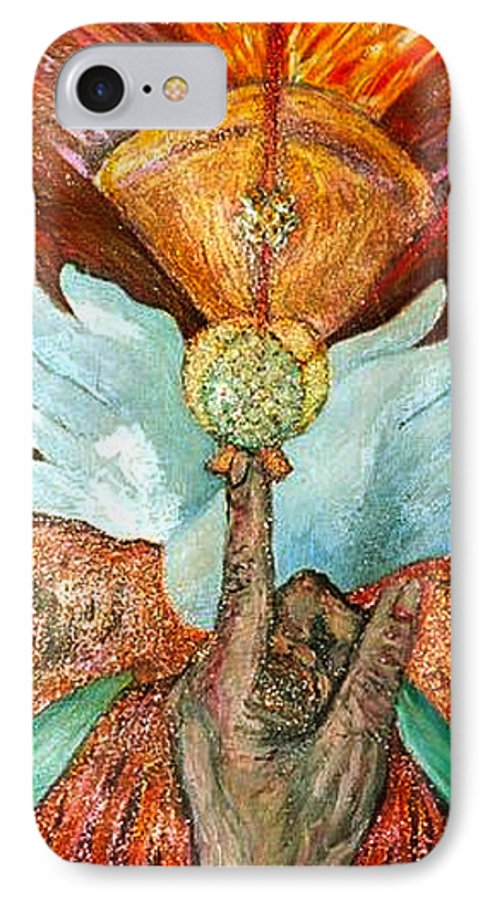 Spiritual IPhone 7 Case featuring the painting Raise It Golden by Stephen Mead