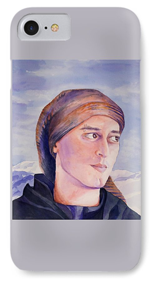Man In Ski Cap IPhone 7 Case featuring the painting Ram by Judy Swerlick