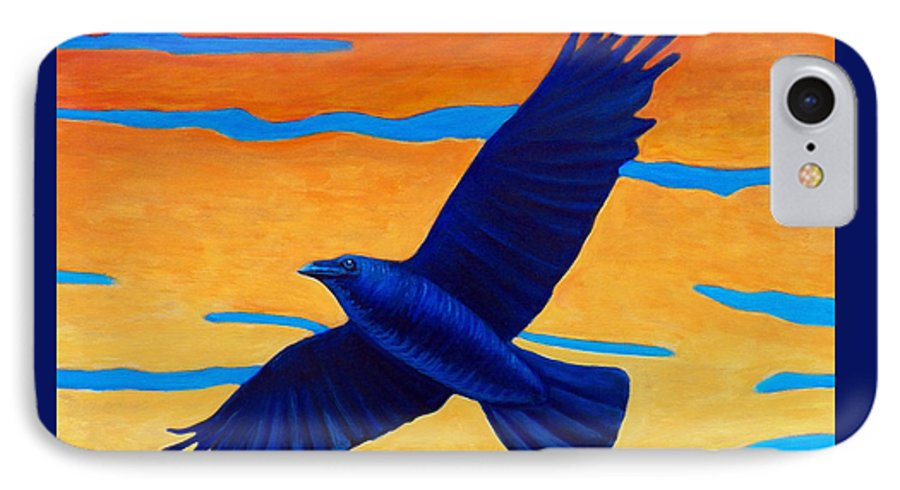 Raven IPhone 7 Case featuring the painting Raven Rising by Brian Commerford