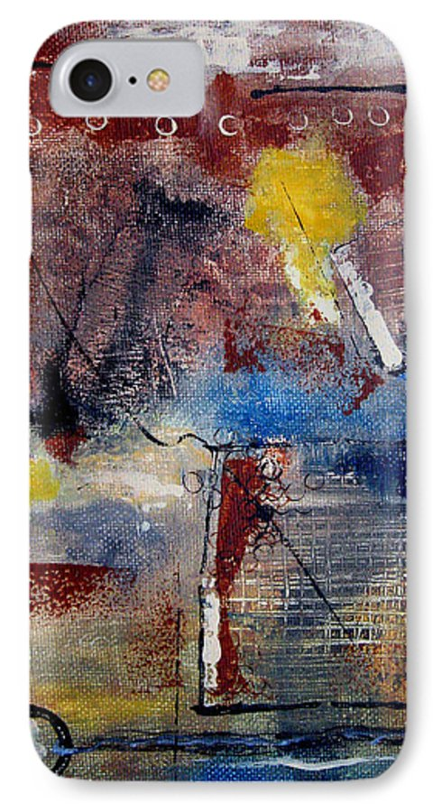 Abstract IPhone 7 Case featuring the painting Raw Emotions II by Ruth Palmer