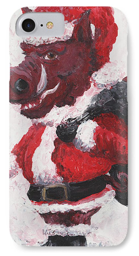 Santa IPhone 7 Case featuring the painting Razorback Santa by Nadine Rippelmeyer