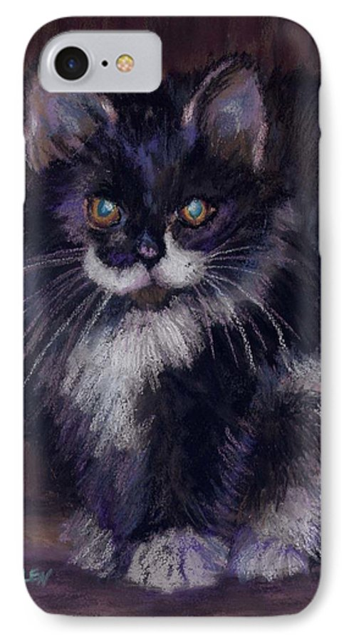Kitten IPhone 7 Case featuring the painting Ready For Trouble by Sharon E Allen