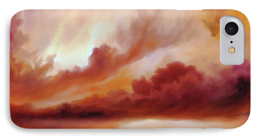 Skyscape IPhone 7 Case featuring the painting Receding Storm Sketch IIi by James Christopher Hill