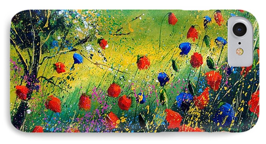 Flowers IPhone 7 Case featuring the painting Red And Blue Poppies by Pol Ledent