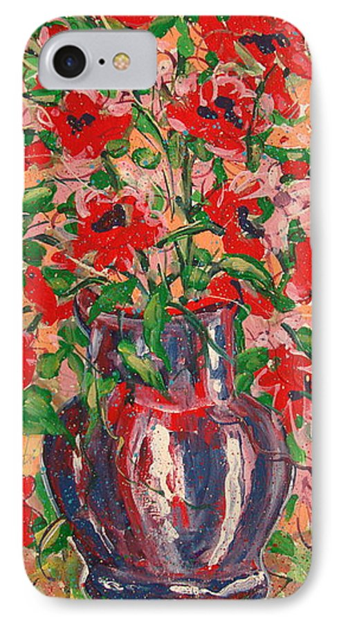 Flowers IPhone 7 Case featuring the painting Red And Pink Poppies. by Leonard Holland