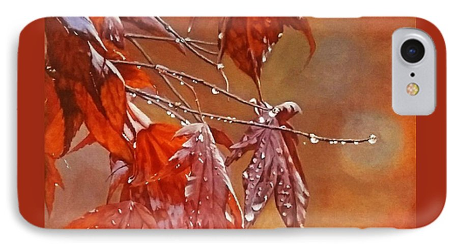 Acrylic IPhone 7 Case featuring the painting Red Autumn by Sheryl Gallant