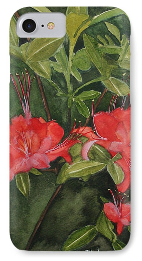 Flowers IPhone 7 Case featuring the painting Red Blooms On The Parkway by Jean Blackmer