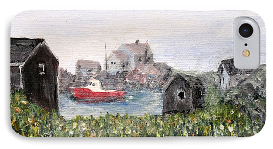 Red Boat IPhone 7 Case featuring the painting Red Boat In Peggys Cove Nova Scotia by Ian MacDonald