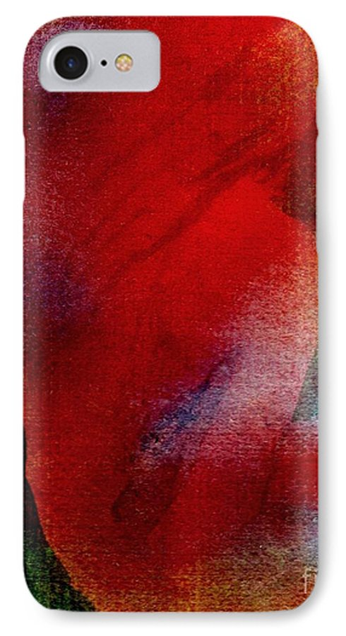 Nude IPhone 7 Case featuring the painting Red Boudoir by Susan Kubes