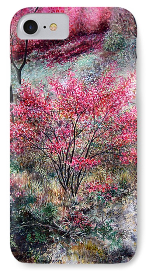 Landscape IPhone 7 Case featuring the painting Red Bush by Valerie Meotti