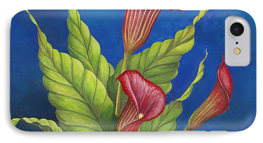 Red Calla Lillies On Blue Background IPhone 7 Case featuring the painting Red Calla Lillies by Carol Sabo