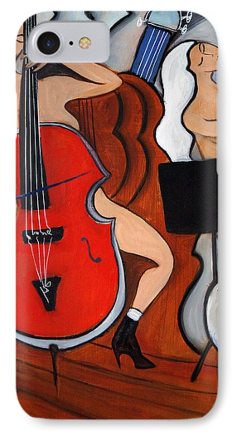 Cubic Abstract IPhone 7 Case featuring the painting Red Cello 2 by Valerie Vescovi
