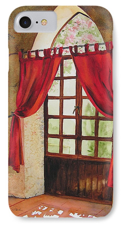 Curtain IPhone 7 Case featuring the painting Red Curtain by Karen Stark