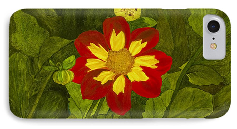 Red IPhone 7 Case featuring the painting Red Dahlia by Louise Magno