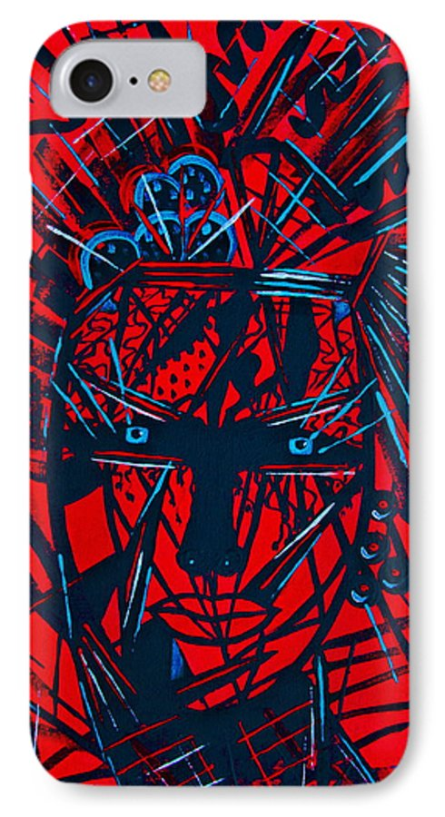 Abstract IPhone 7 Case featuring the painting Red Exotica by Natalie Holland