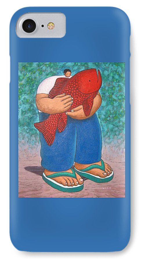 Acrylic IPhone 7 Case featuring the painting Red Fish And Blue Trousers. by Vico Vico