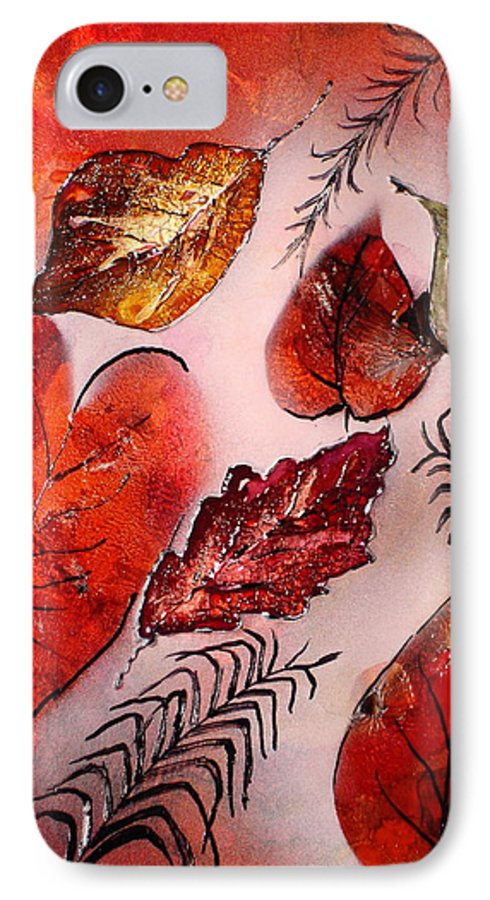 Leaf IPhone 7 Case featuring the painting Red Leaves by Susan Kubes