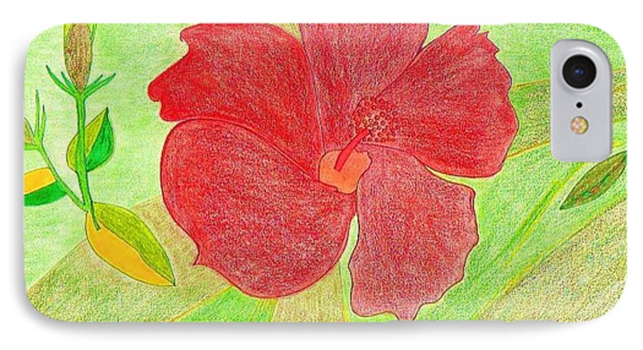 Red Flower IPhone 7 Case featuring the drawing Red Passion by Michael Puya