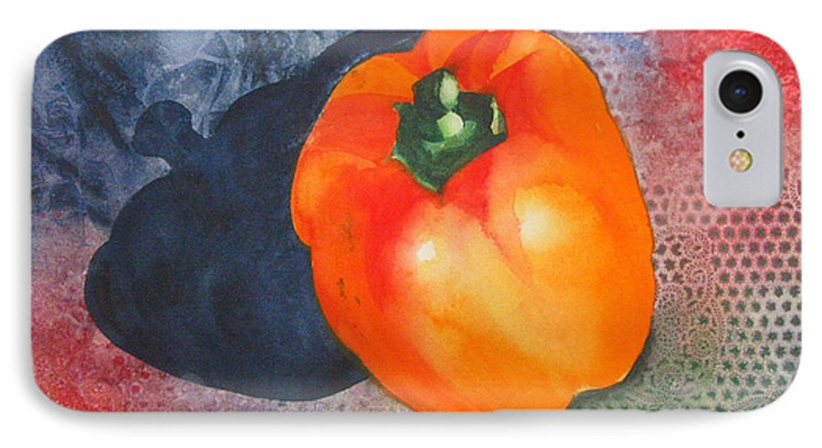 Pepper IPhone 7 Case featuring the painting Red Pepper Solo by Jean Blackmer