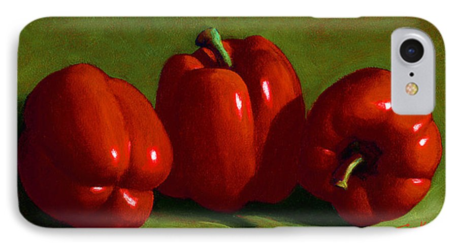 Red Peppers IPhone 7 Case featuring the painting Red Peppers by Frank Wilson