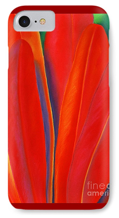 Red IPhone 7 Case featuring the painting Red Petals by Lucy Arnold