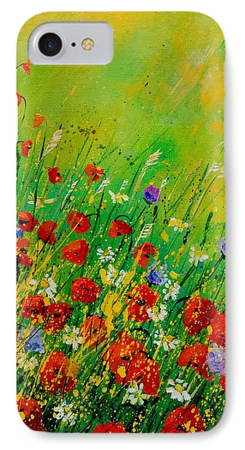 Flowers IPhone 7 Case featuring the painting Red Poppies 450708 by Pol Ledent