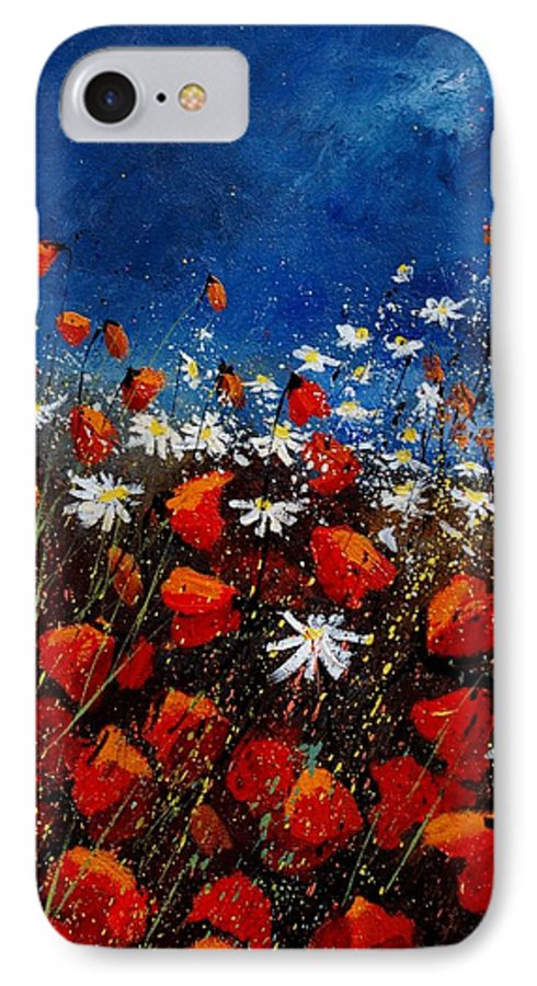 Flowers IPhone 7 Case featuring the painting Red Poppies 451108 by Pol Ledent