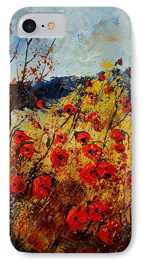 Poppies IPhone 7 Case featuring the painting Red Poppies In Provence by Pol Ledent