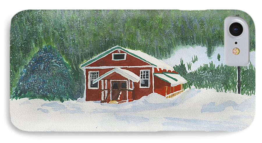 Schoolhouse IPhone 7 Case featuring the painting Red School House by Louise Magno