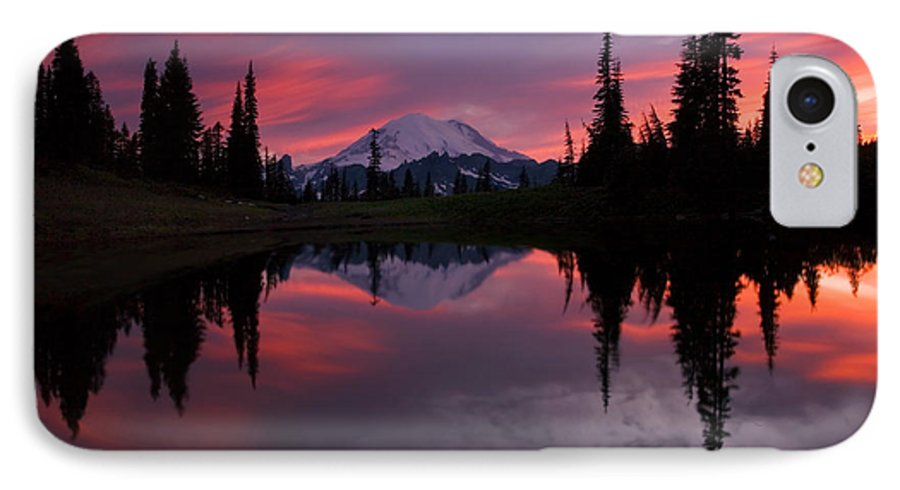 Rainier IPhone 7 Case featuring the photograph Red Sky At Night by Mike Dawson