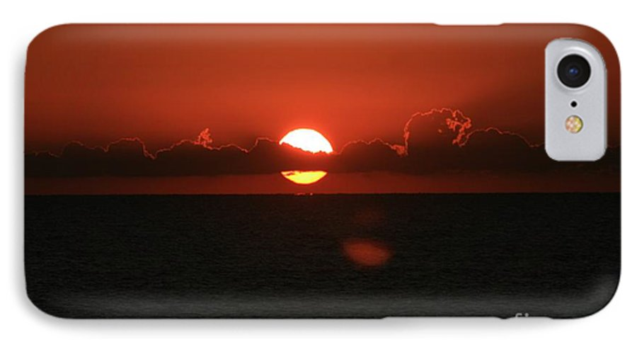 Sunset IPhone 7 Case featuring the photograph Red Sunset Over The Atlantic by Nadine Rippelmeyer