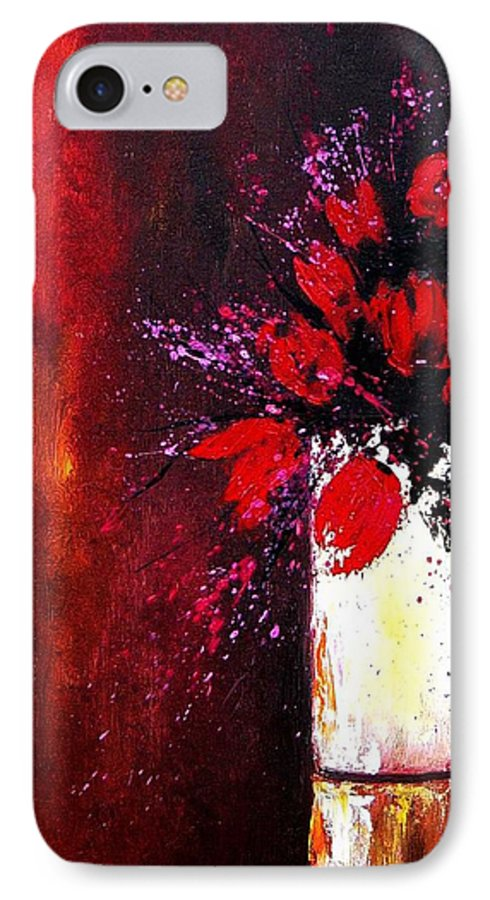 Flowers IPhone 7 Case featuring the painting Red Tulips by Pol Ledent