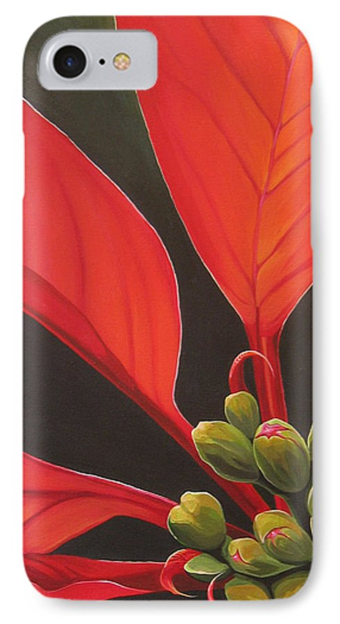 Poinsettia Closeup IPhone 7 Case featuring the painting Red Velvet by Hunter Jay