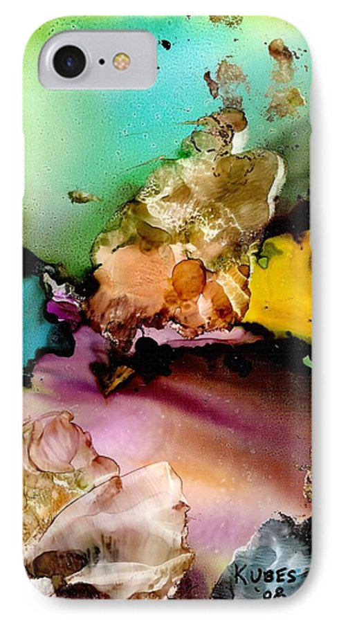 Reef IPhone 7 Case featuring the mixed media Reef 3 by Susan Kubes