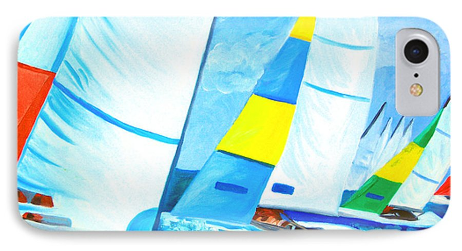 Sailing IPhone 7 Case featuring the painting Regatta by Michael Lee
