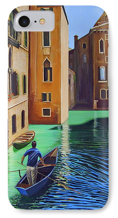 Canal In Venice IPhone 7 Case featuring the painting Remembering Venice by Hunter Jay