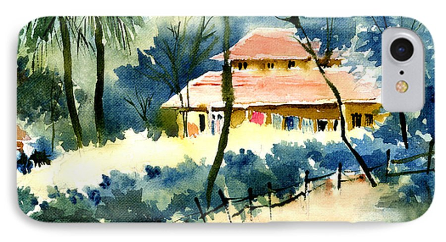 Landscape IPhone 7 Case featuring the painting Rest House by Anil Nene