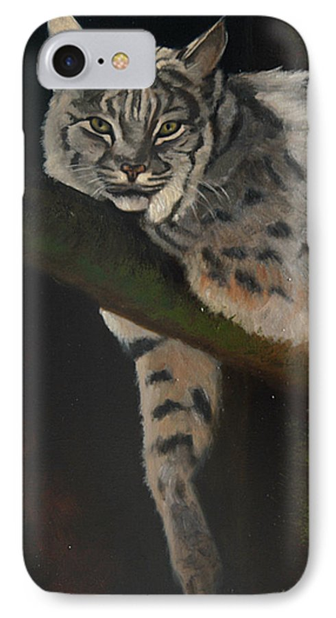Bobcat IPhone 7 Case featuring the painting Resting Up High by Greg Neal