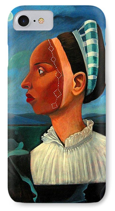 Woman IPhone 7 Case featuring the painting Revealed Truths And Myths IIi by Joyce Owens