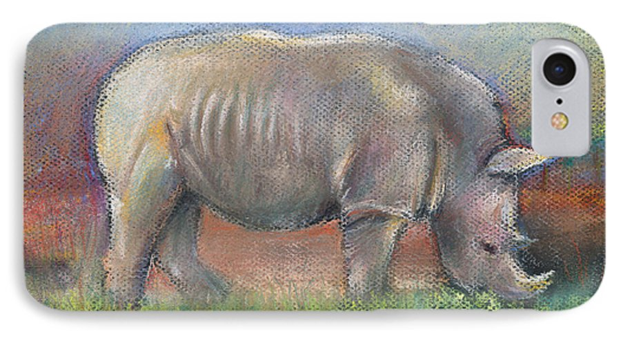 Rhino IPhone 7 Case featuring the pastel Rhino by Arline Wagner