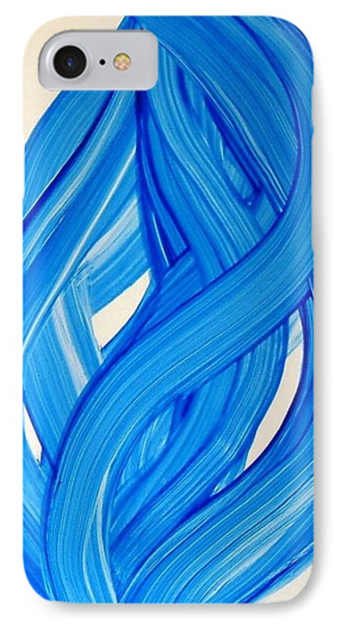 Abstract Modern Contemporary Yupo Art Painting Romantic Pop Blue IPhone 7 Case featuring the painting Ribbons Of Love-blue by Manjiri Kanvinde