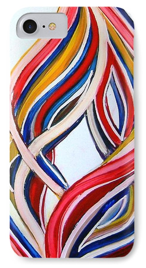 Abstract Modern Contemporary Pop Romantic Love Colourful Red Yellow Blue White IPhone 7 Case featuring the painting Ribbons Of Love-multicolour by Manjiri Kanvinde