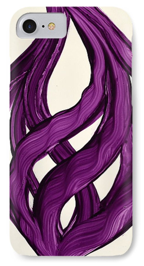 Abstract Art Yupo Comtemporary Modern Pop Romantic Vibrant IPhone 7 Case featuring the painting Ribbons Of Love-violet by Manjiri Kanvinde