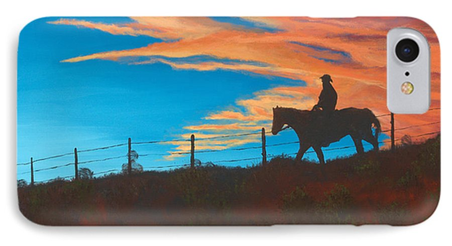 Cowboy IPhone 7 Case featuring the painting Riding Fence by Jerry McElroy