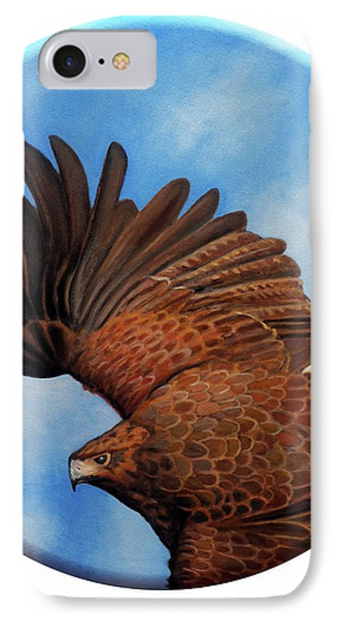 Hawk IPhone 7 Case featuring the painting Riding The Wind by Brian Commerford